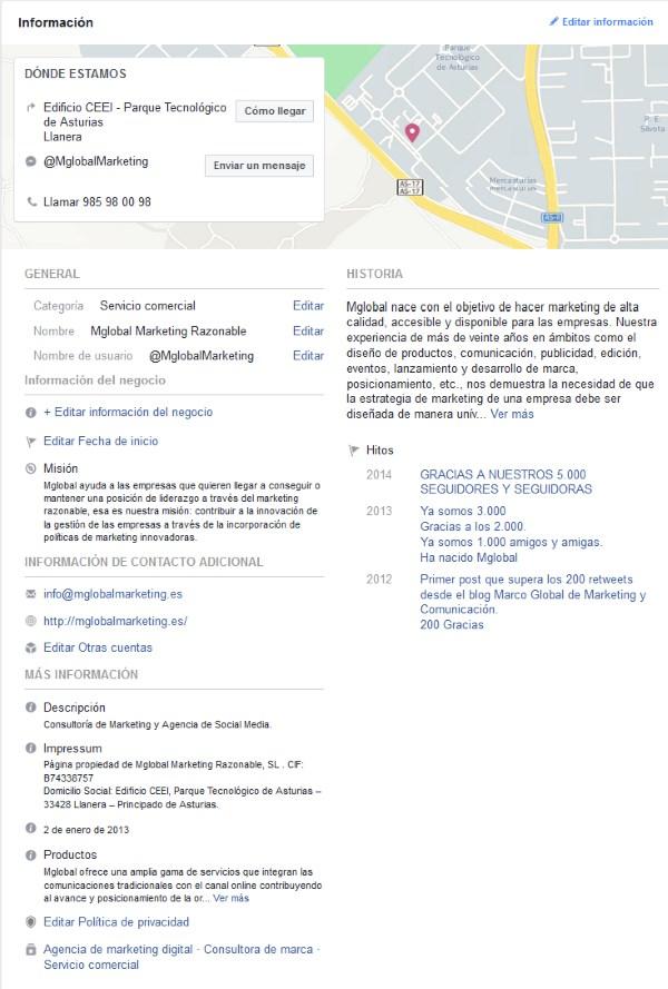 perfiles optimizados en redes sociales: Facebook