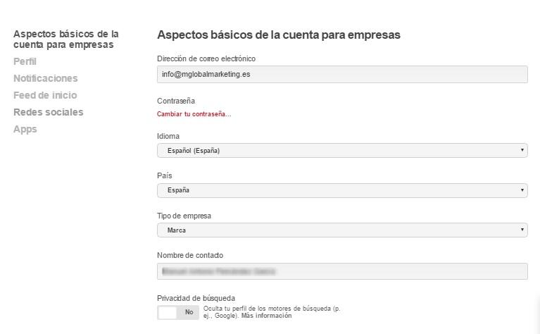perfiles optimizados en redes sociales: Pinterest