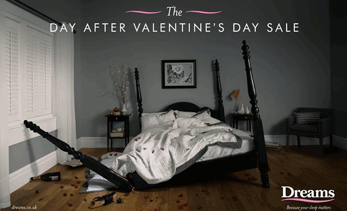 Publicidad de camas Día de San Valentín