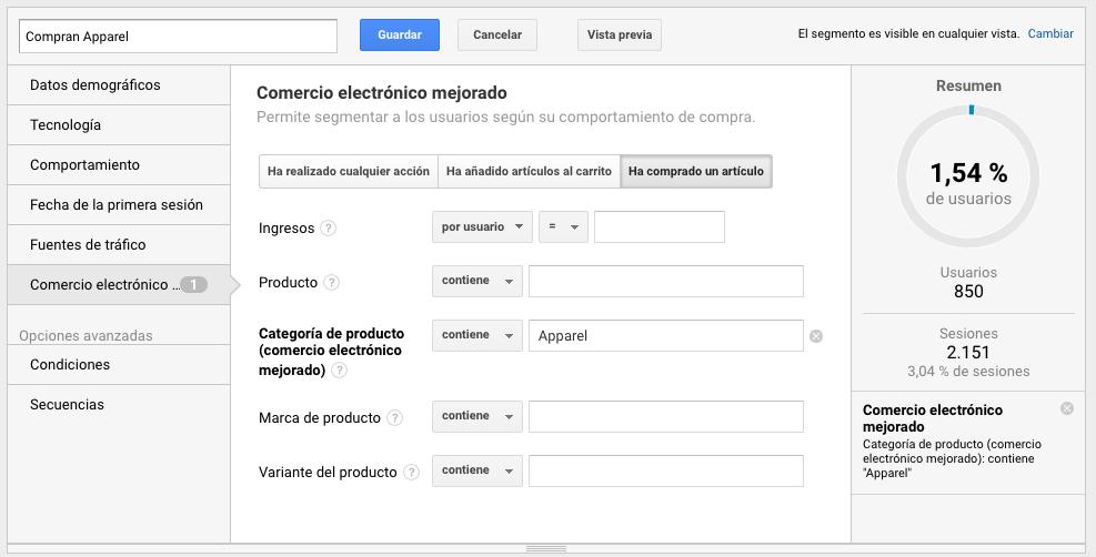 Segmento de categoría de ecommerce mejorado para cross selling en Google Analytics