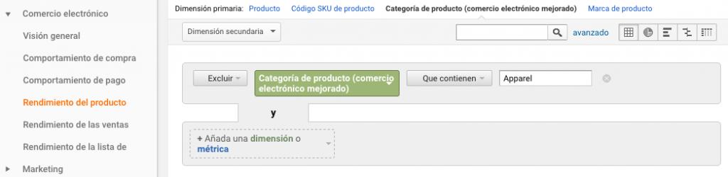 Filtro avanzado en informe de Google Analytics