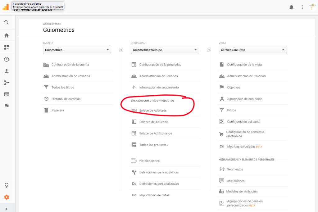 Enlazar Analytics y Adwords