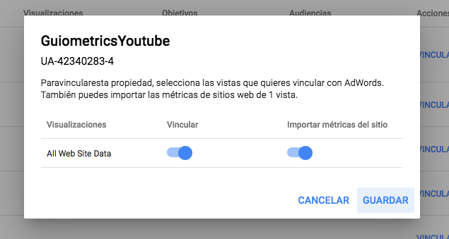 Adwords conversiones de Analytics