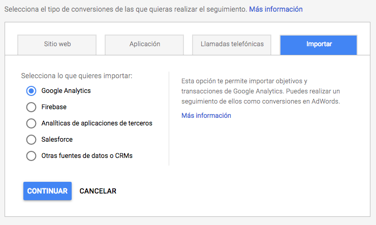 Adwords importar conversiones de Analytics