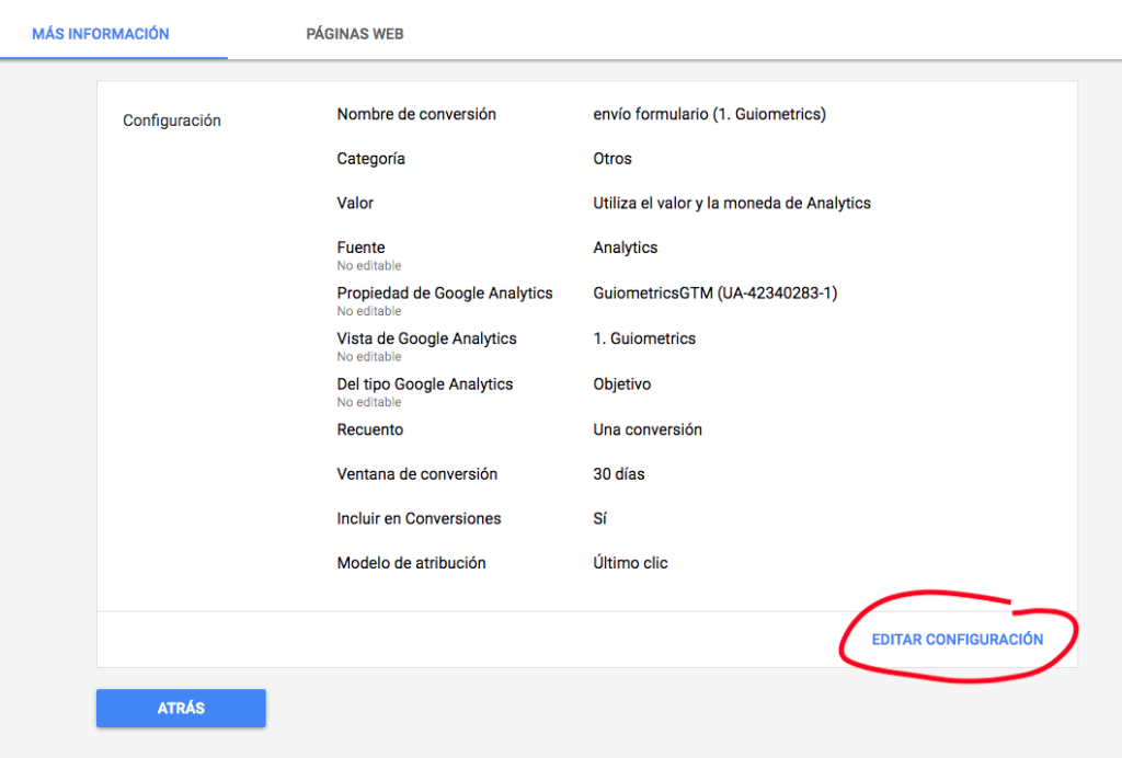 Configurar conversión de Analytics en Adwords