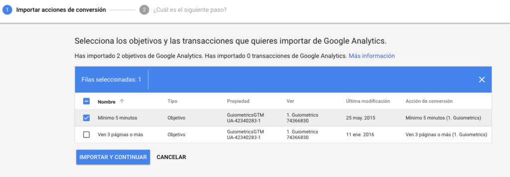 Importar conversiones de Analytics