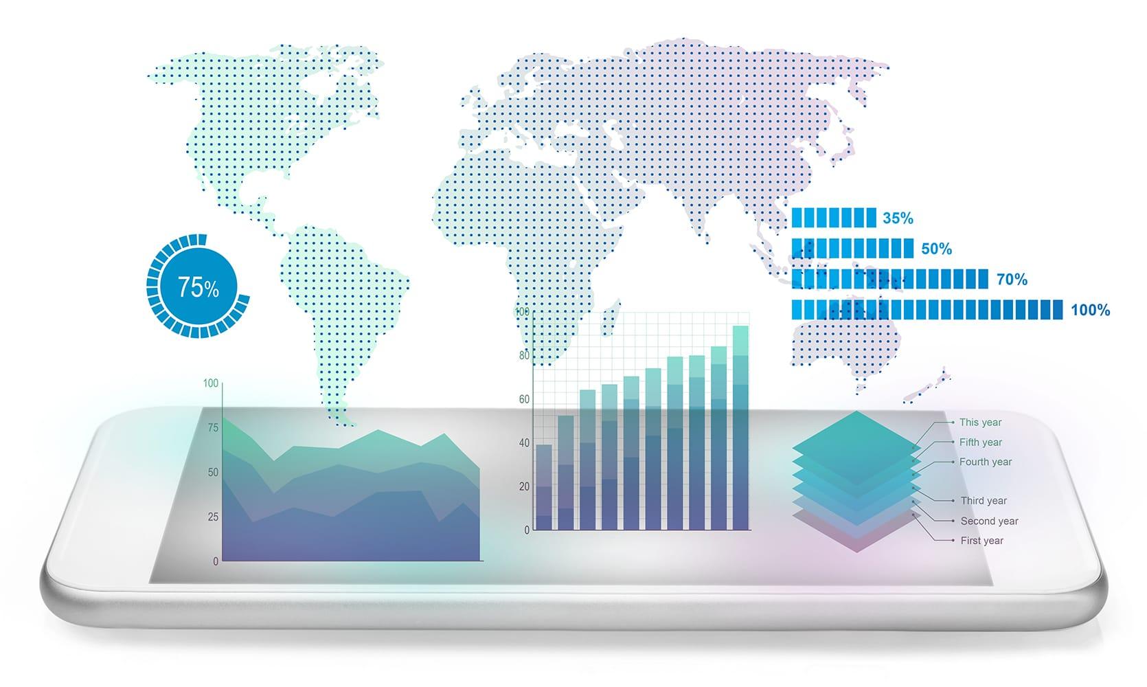 grafica con servicios de analitica web y servicios de business intelligence business analytics