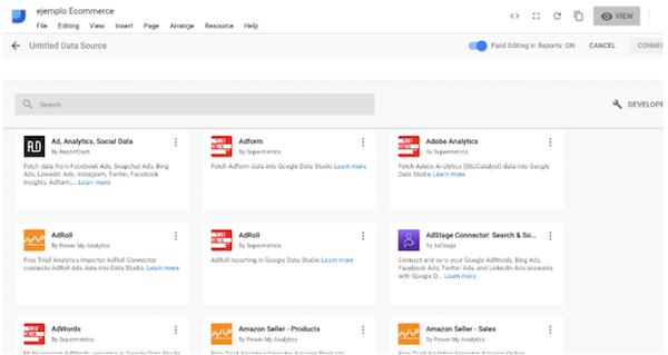 Google Data Studio datos