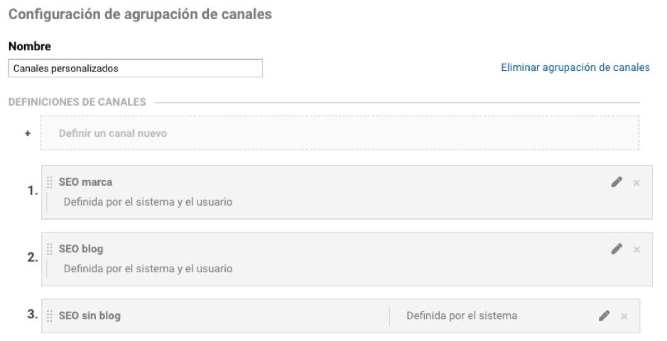 Configuración de agrupación de canales en Google Analytics